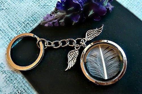 Pluma blanca alas de angel Llavero del guardapelo con CAJA DE REGALO Medallero de plata dije de personalizado Ángel guardian pluma de pájaro relicario ...