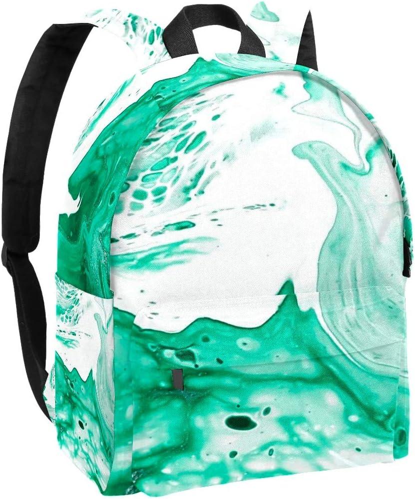 Colored Marble Green Backpack School Travel Bag Casual 14 inch Laptop Daypack Bookbag Waterproof Student Computer Bag for Women Girls Kids Boy College Work