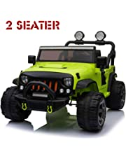 Ride On Car, 12V Kids Motorized Car Truck with 2 Seater, Full LED Lights, Parental Remote Control, MP3 Player, 3 Speeds, Handle Bar and Caster Wheel (Green J)