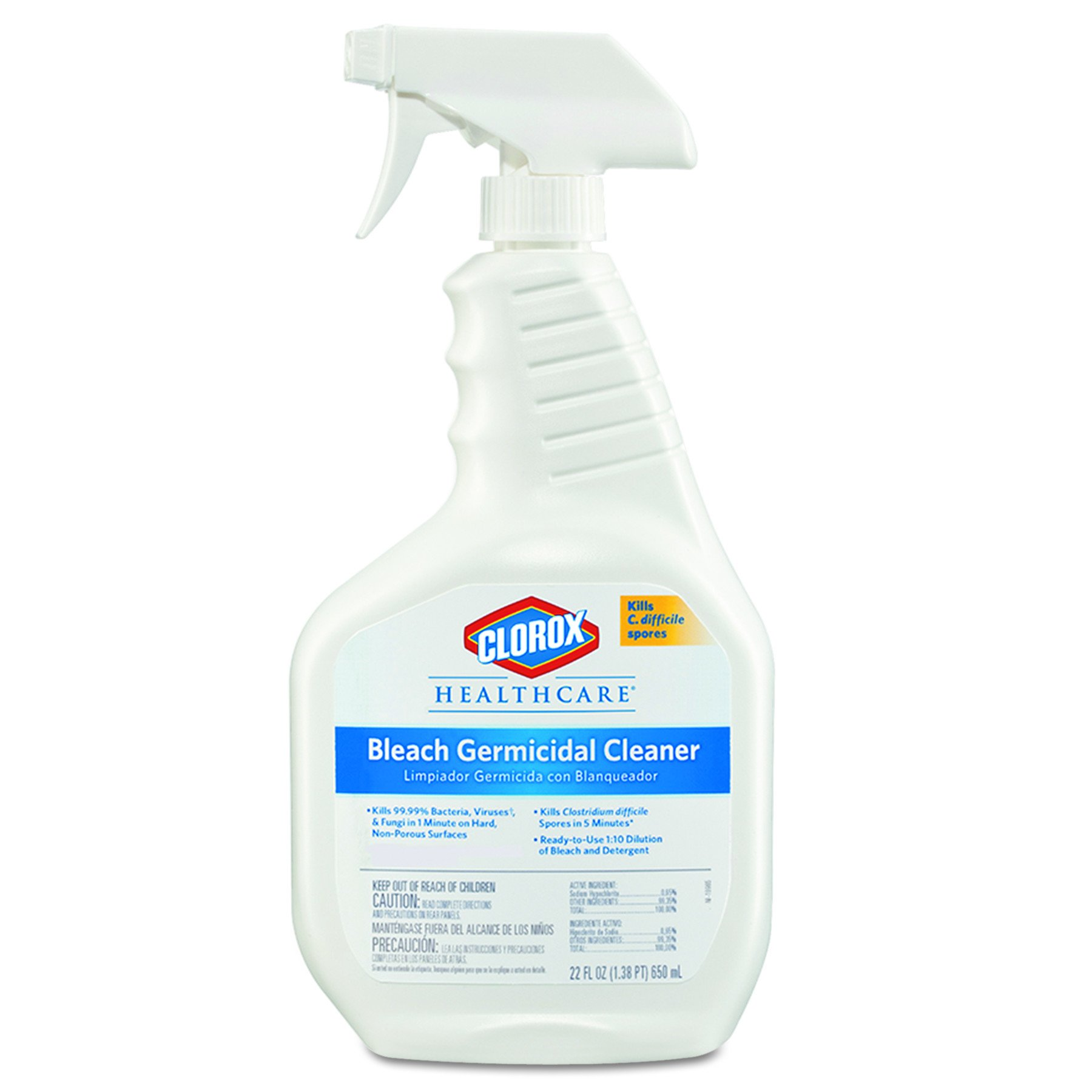 Clorox Healthcare 68967CT Bleach Germicidal Cleaner, 22oz Spray Bottle (Case of 8)