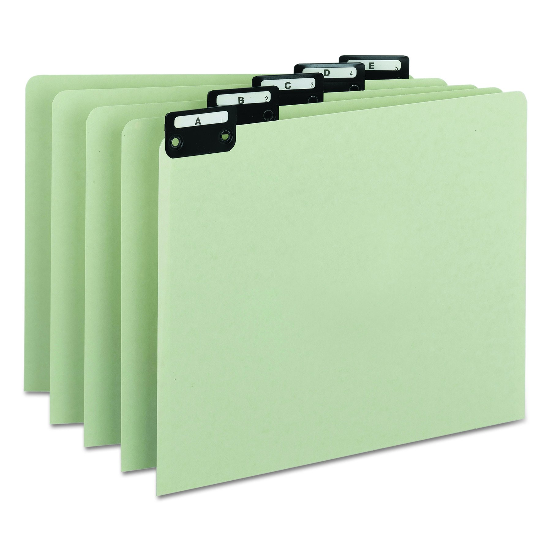 Smead 100% Recycled Pressboard File Guides, Flat Metal 1/5-Cut Tab with Insert (A-Z), Letter Size, Gray/Green, Set of 25 (50576)