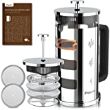 Pukomc French Press Coffee Tea Maker 34 oz, 304 Stainless Steel Glass coffee press with 4 Filters, No Grounds, Removable Heat