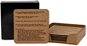 That's What She Said Coasters, Quote from Every Epidsode from The Office TV Show, Natural Cork Set of 6 (Premium Cork)