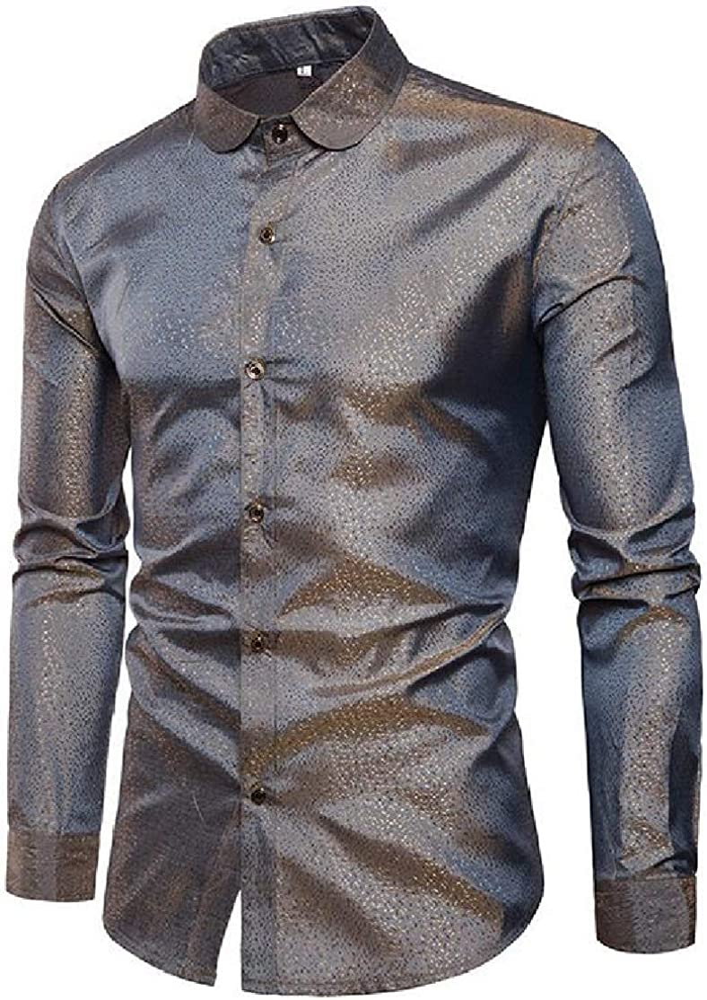 KLJR Men Club Long Sleeve Fashion Leisure Fitted Fitted Button-Front Shirts