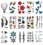 Chileeany Lot de 15 Tatouages Temporaire Tattoos Étanche 10.5 x 6.0 cm,Motifs variés (Blanc)