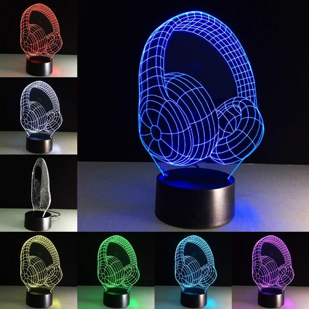 DJ Headphone Studio Music Monitor Headset Music Earphone Boy Best 3D LED Night Light Lámpara de mesa Decoración de noche Regalo para niños