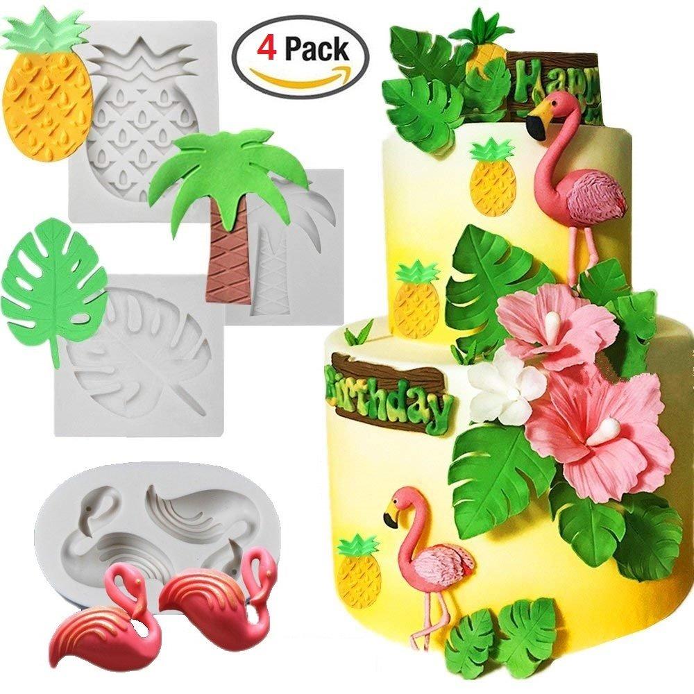 Tropical Rain Forest Theme Silicone Cake Fondant Mold,Flamingo/Pineapple/ Palm Leaves/Coconut Palm Tree Candy Chocolate Polymer Clay Hawaiian Cake Decorating