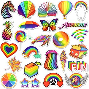 Waterproof Vinyl Rainbow Laptop Water Bottle Phone Stickers Pack (50 Pcs)