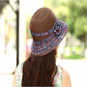 RangYR Mujeres Sombrero Verano Caída Sombrilla Cap Protector Solar Sombrero  De Playa Sombrero Plegable Sombrero De cf9aed17dd1
