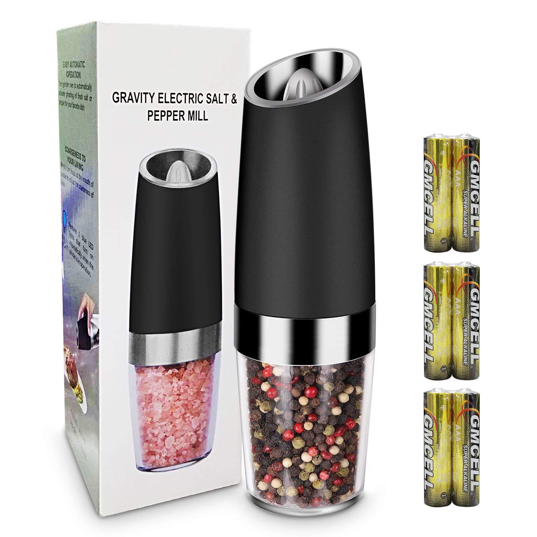 Amoladora de Sal y Pimienta, Molinillo de Pimienta Eléctrica de Acero Inoxidable y Molinillo de Sal con LED con Aspereza de Molienda Ajustable Magicfun