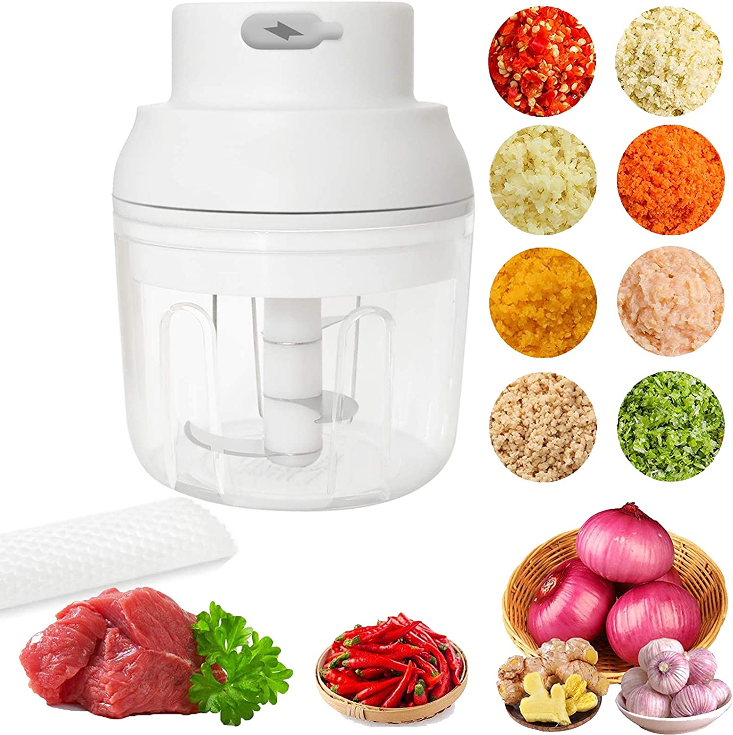 Tiupa Electric Mini Garlic Chopper,Small Chopper Food Processor, Kitchen Gadgets Vegetable Spices Onion Crusher Blender,Waterproof Portable Food Processor Mincer for Chili Ginger Onion Meat (250ml)