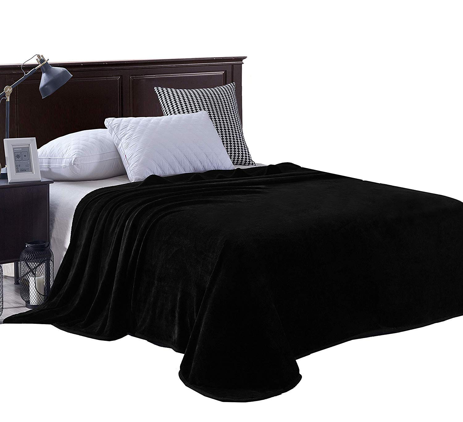 Exclusivo Mezcla Luxury King Size Flannel Velvet Plush Solid Bed Blanket as Bedspread/Coverlet/Bed Cover (90'' x 104'', Black) - Soft, Lightweight, Warm and Cozy