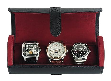 Amazon.com: Deluxe negro Saffiano 3 del reloj del pulsera ...