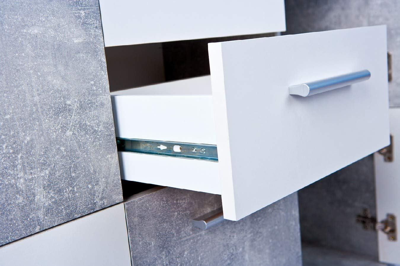 77 x 77 x 30 cm Esidra Mobile Buffet credenza 3 Ante 2 cassetti-Rovere e Bianco