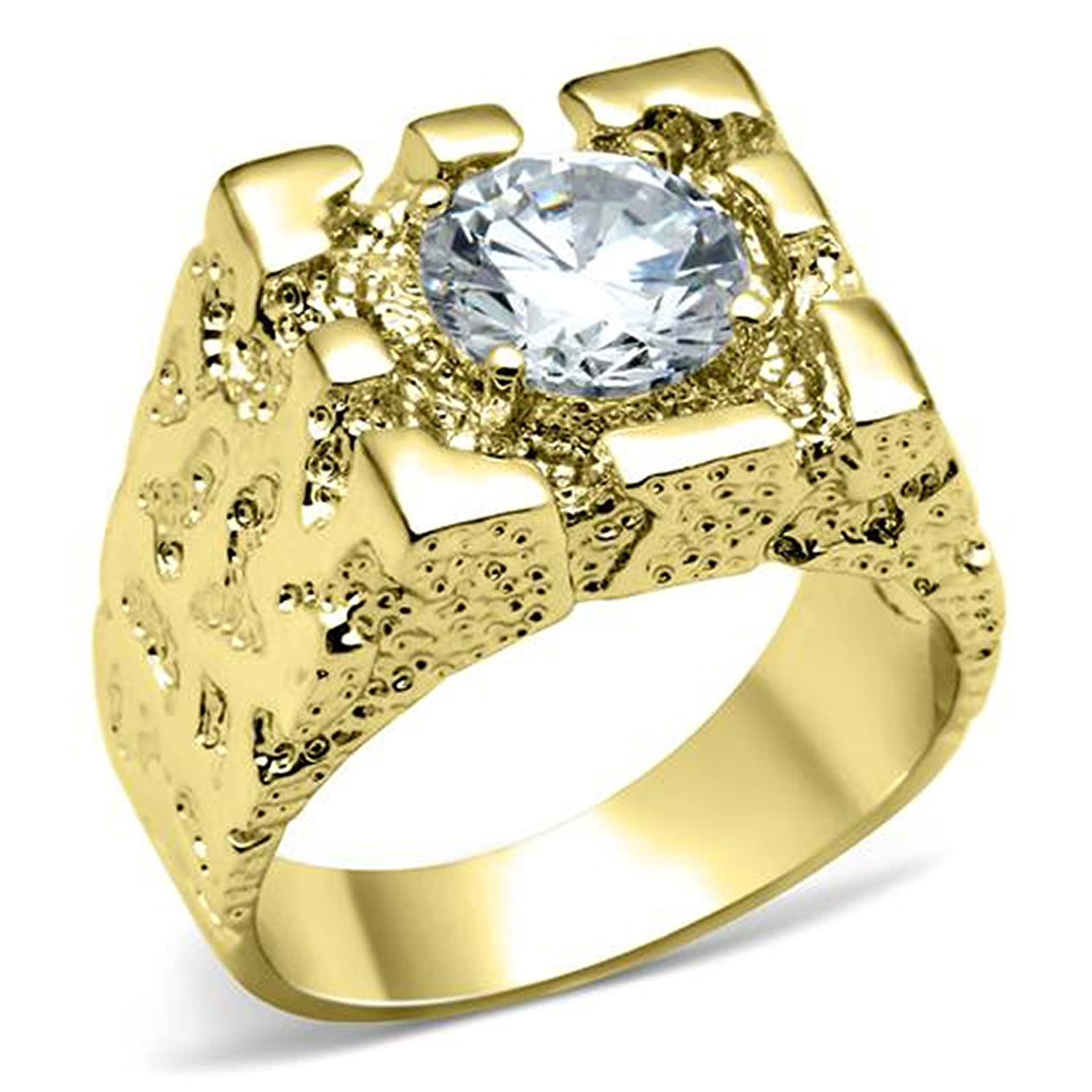 Men's Gold Plated AAA Grade Cubic Zircon CZ Ring 11 12 13 2W052