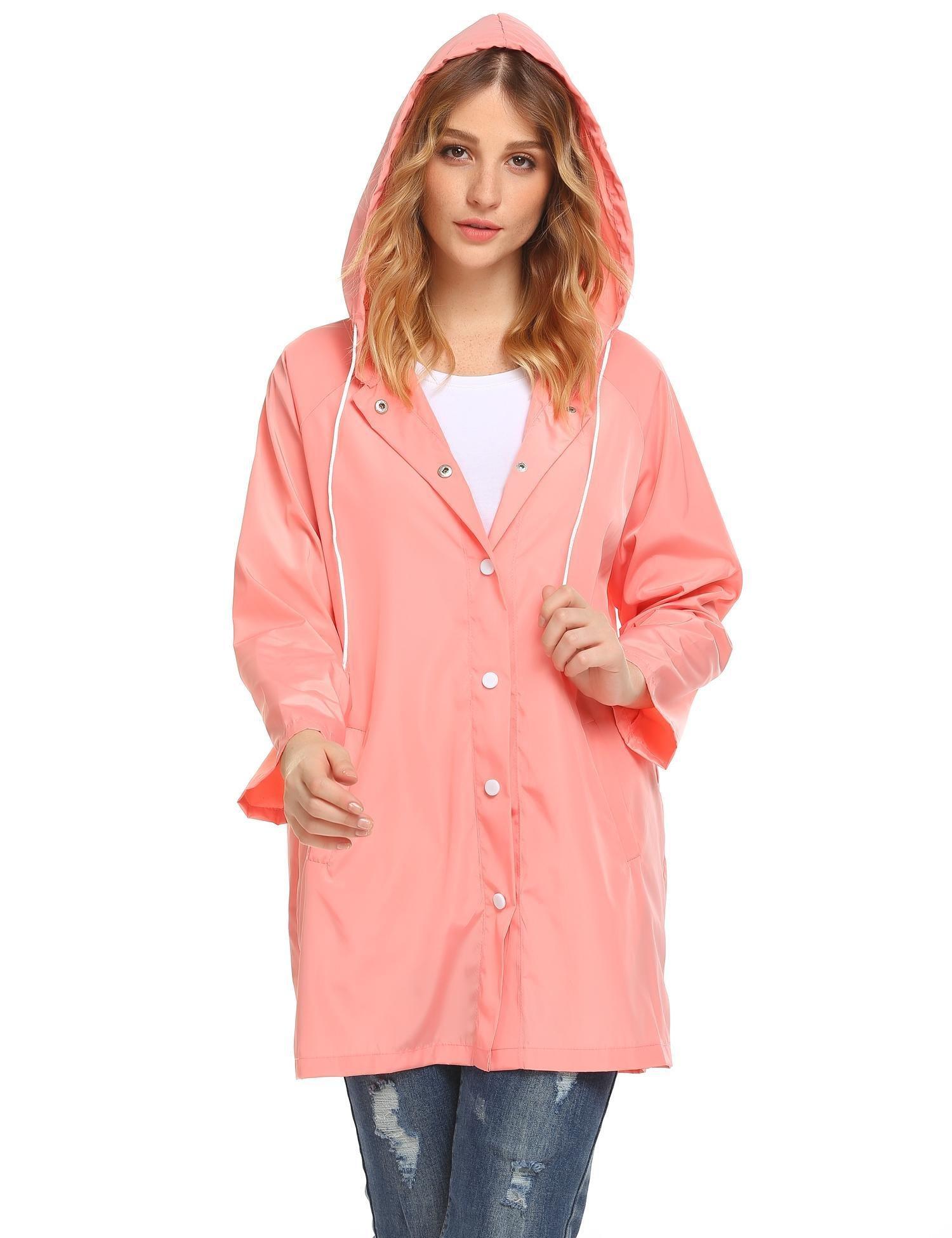 Soteer Womens Lightweight Hooded Raincoat Active Outdoor Waterproof Jacket(Pink-L)
