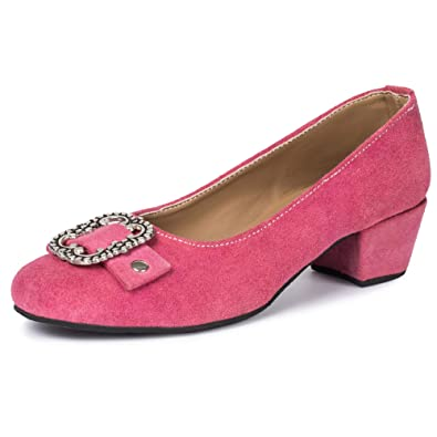 reputable site 44c10 8cc7d PAULGOS Damen Trachtenschuhe Dirndl Schuhe Trachten Pumps Echtes Leder Pink  Gr. 36-41