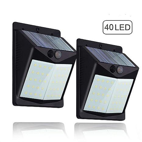 Luces Solares 40 LED, Foco Solar Led Exterior, [2 Paquetes] JUNKER 1500mAh