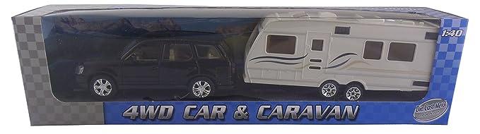 4WD CAR & CARAVAN Die-cast Set Métal - 01:40 Scale.