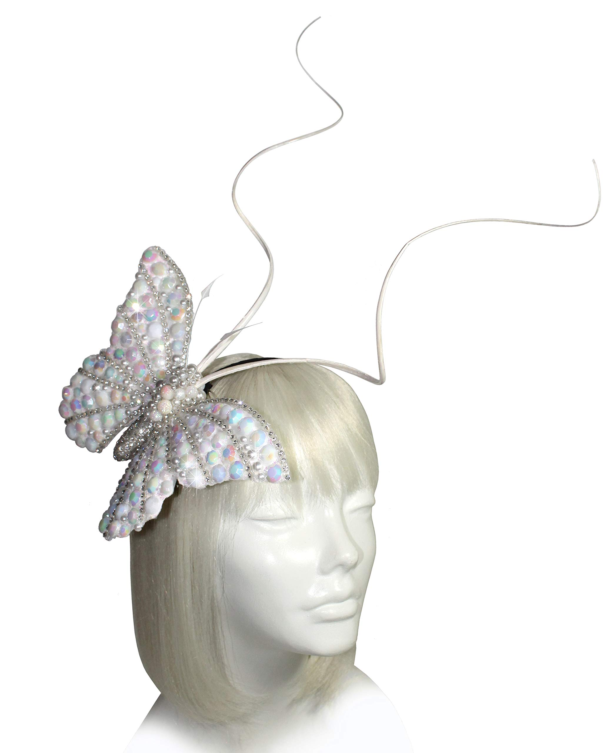 Mr. Song Millinery Papillon Profile Fascinator Headband AF59 (Pearl)