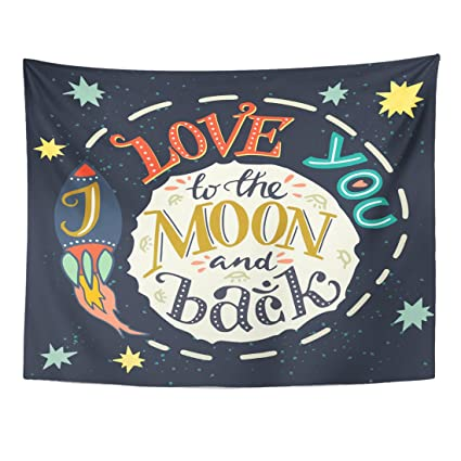 Amazon Com Tompop Tapestry Rocket I Love You To The Moon And Back