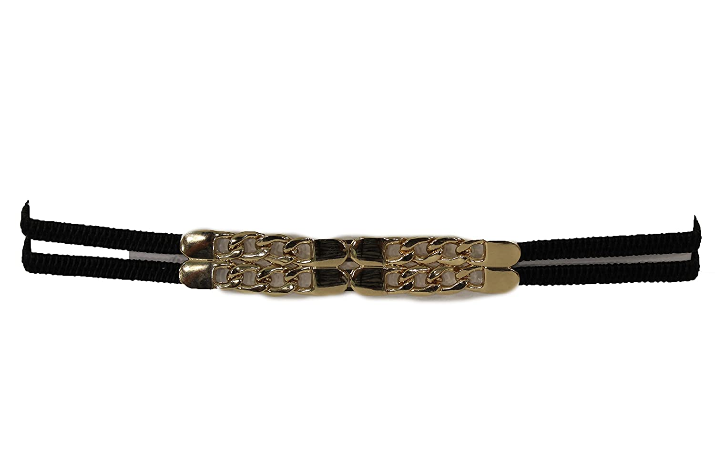 TFJ Women's Elastic Narrow Fashion Belt Hip Waist Gold Metal Chains Buckle S M Black