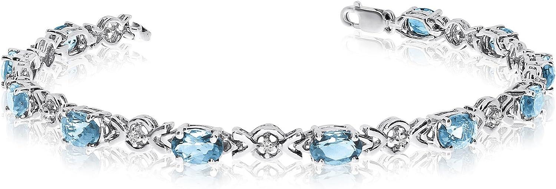 10K oro blanco ovalado Aguamarina y diamante pulsera
