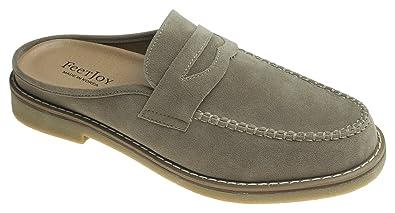 8718cf93b2f AGOS Mens Penny Strap Mules Open Back Loafer Slip-On Dress Slippers Beige