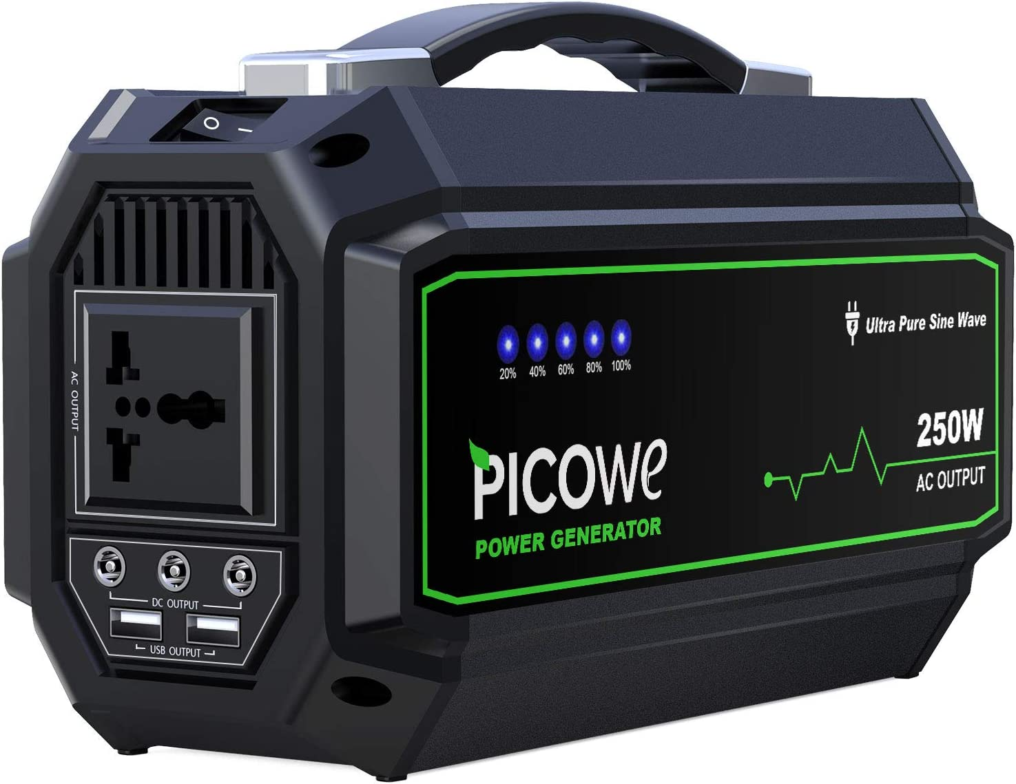 Picowe Portable Power Station 250Wh Rechargeable Lithium Battery Pack Solar Power Generator 110V AC Outlet 3 DC Port 2 USB Ports Emergency Power Supply Backup for CPAP Camping Fishing Travel