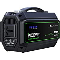 Picowe Portable Power Station, 250Wh 67500mAh Emergency Solar Power Generator 250W Power Supply with 110V AC Outlet, 3 DC Ports, 2 USB Ports Lithium Battery Backup for CPAP Camping Travel