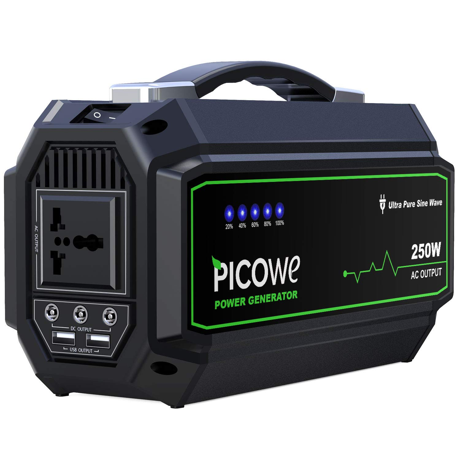 Picowe Portable Power Station 250Wh Rechargeable Lithium Battery Pack Solar Power Generator 110V AC Outlet 3 DC Port 2 USB Ports Emergency Power Supply Backup for CPAP Camping Fishing Travel by Picowe