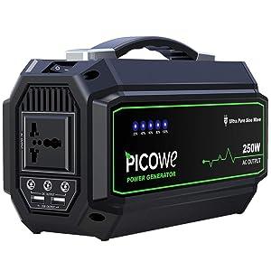 Picowe 250Wh AC出力250W ポータブル電源