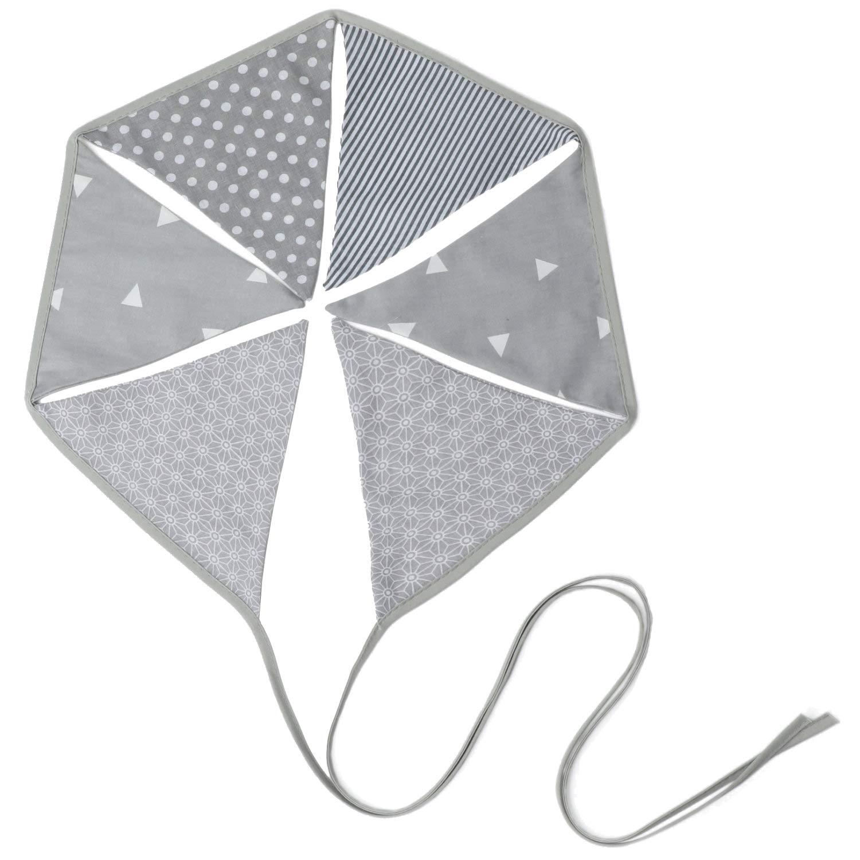 D/écoration Chambre B/éb/é Banderole Triangle Pastel Gris PREMYO Guirlande de Fanions en Tissu