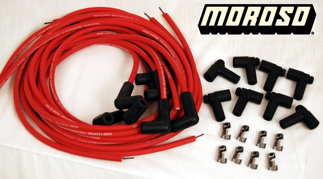 Chevy 400, 350, 327, 307, 305, 302, 283 Red HEI 8mm Silicone Spark Plug Wire Set Moroso