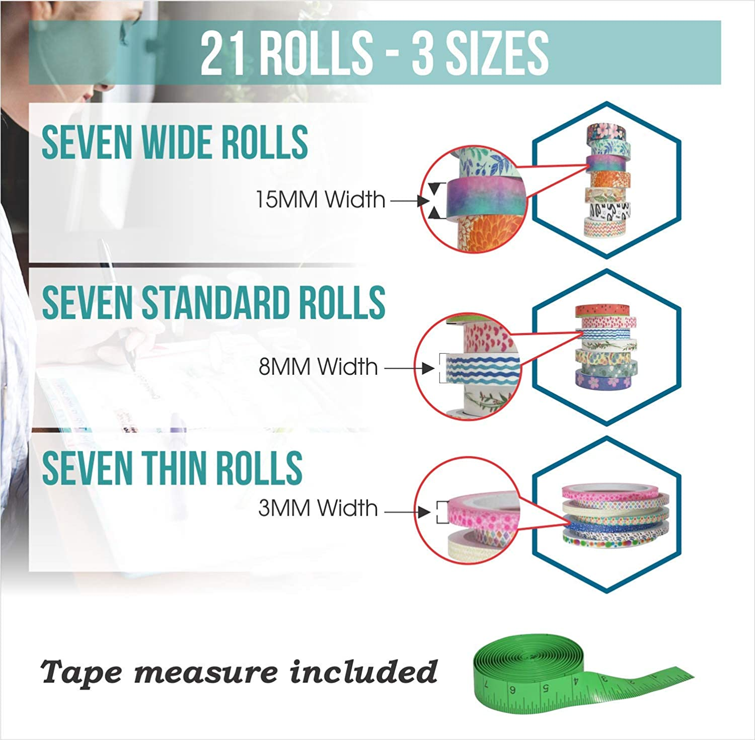 Bujo Supplies Cute Washi Tape Set with 3 sizes Decorative Holiday Craft Tape Colorful Tape 15mm 8mm and 3mm Wide Skinny and Thin Scrapbook Tape 21 Rolls Floral Japanese Pastel Seasonal Art