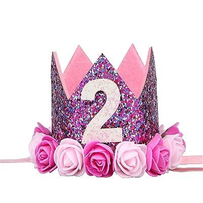 BESTOYARD Princesa bebé Flor Corona Diadema cumpleaños Accesorios para el Cabello 2 año: Hogar