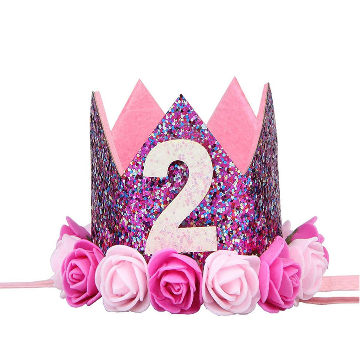 BESTOYARD Baby Second Birthday Crown Headband 2nd Princess Flower Crown Tiara Hair Hoop for Baby Birthday Party Supplies - Size 6 (2 Years Old)