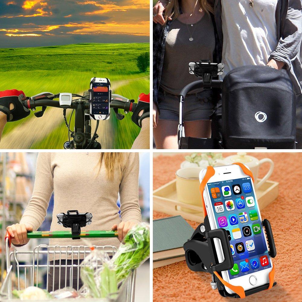 2 Bandes antid/érapantes pour Smartphone GPS et Autres appareils 360 /° Safe Angle de Vue Anti-Vibrations Support V/élo du Guidon BIGO Support T/él/éphone V/élo Moto