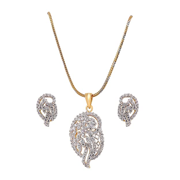Habors American Diamond Gold Plated AD Pendant Set #D097 Women at amazon