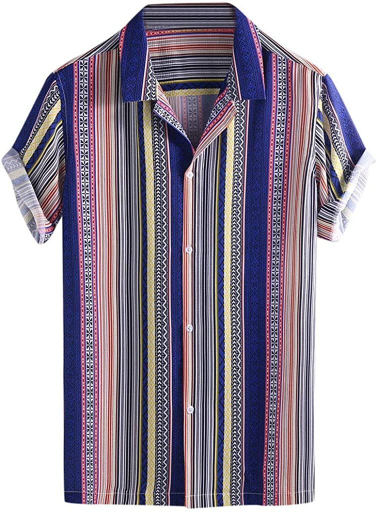 iCJJL Mens Hippie Shirt Short Sleeve Ethnic Printed Casual Button Down Paisley Casual Aloha Hawaiian Beach Party Top