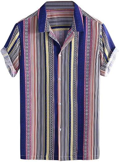 CAOQAO Camisas Hombre Manga Corta Hawaiana Camisa El Verano Estilo Nacional Transpirable Ropa de Hombre Lineas Verdes Rojas: Amazon.es: Ropa y accesorios