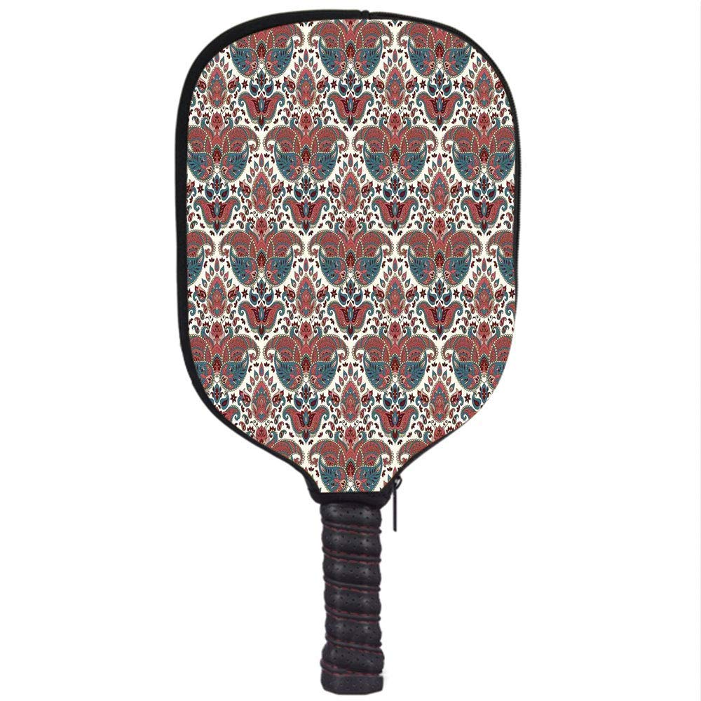 PENGTU Neoprene Premium Pickleball Paddle Racket Cover Case,Paisley,Oriental Damask Ethnic Design Persian Effects Feminine Aged Pattern,Mauve Dried Rose and ...
