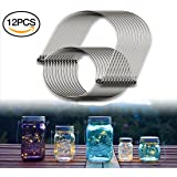 Muscccm 12pcs Stainless Steel Wire Handles (Handle-Ease) for Mason Jar, Ball Pint Jar, Canning Jars, Mason Jar Hangers and Hooks for Regular Mouth, Silver(Not Included Jars)
