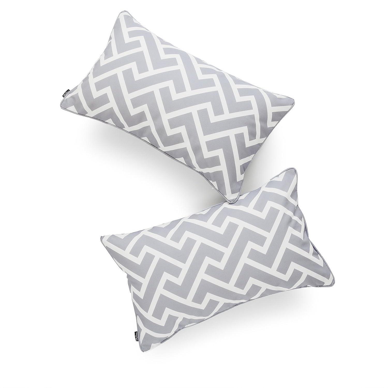 Hofdeco Decorative Lumbar Pillow Cover Indoor Outdoor Water Resistant Canvas Modern Grey City Maze 12x20 Set of 2 03-0207-08x2