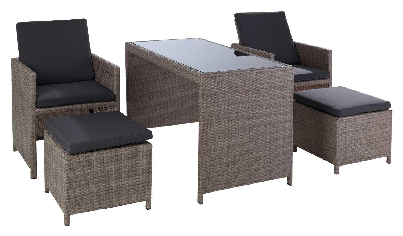 garten loungegruppe sitzgruppe gartengruppe 5 tlg bela dunkelgrau metall kunststoffgeflecht. Black Bedroom Furniture Sets. Home Design Ideas