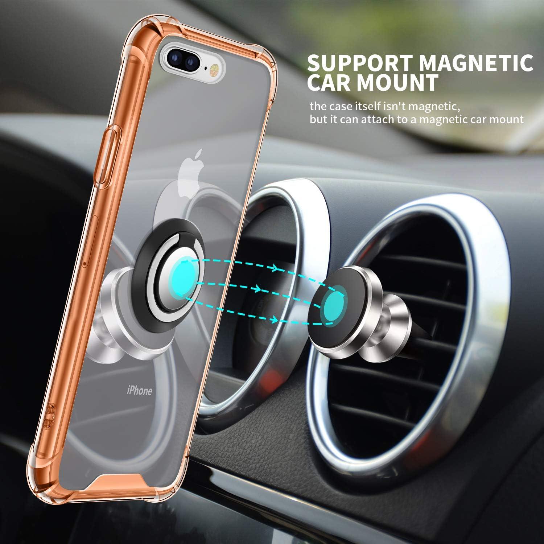 Jaligel iPhone 7 Plus//8 Plus funda con soporte para anillo de 360 grados silicona TPU funda fina antigolpes protectora trabajar con soporte magn/ético para coche