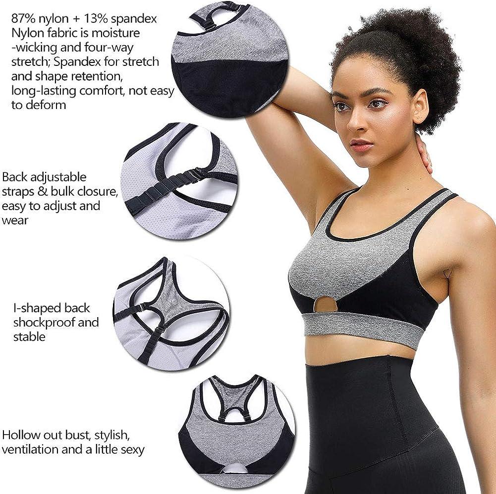 JOYMODE Sports Bra for Women High Impact Racerback Bounce Control Wide Straps Breathable Push Up Bra