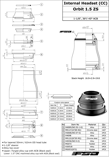 57-1 Orbit 1.5 ZS 1-1//8 Auriculares c/ónicos OD 50 mm//62 mm con Tapa Superior #XTE1667 FSA No /F.S.A