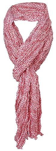 arrugado TigerTie pañuelo de seda en rojo blanco gris lunares - 100% de seda - tamaño 180 x 50 cm