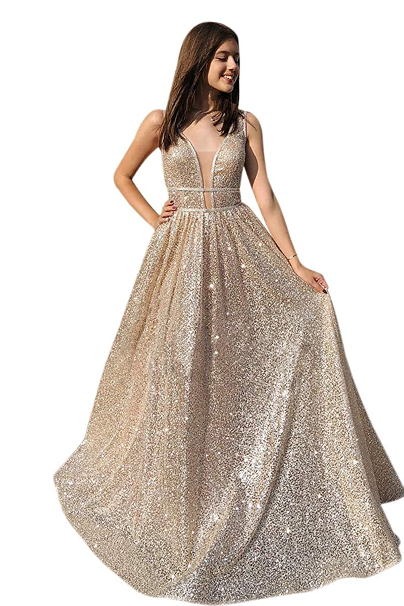 Champagne Harsuccting Women's Sparkly Sequins Deep V Neck Long Prom Dress Evening Gowns